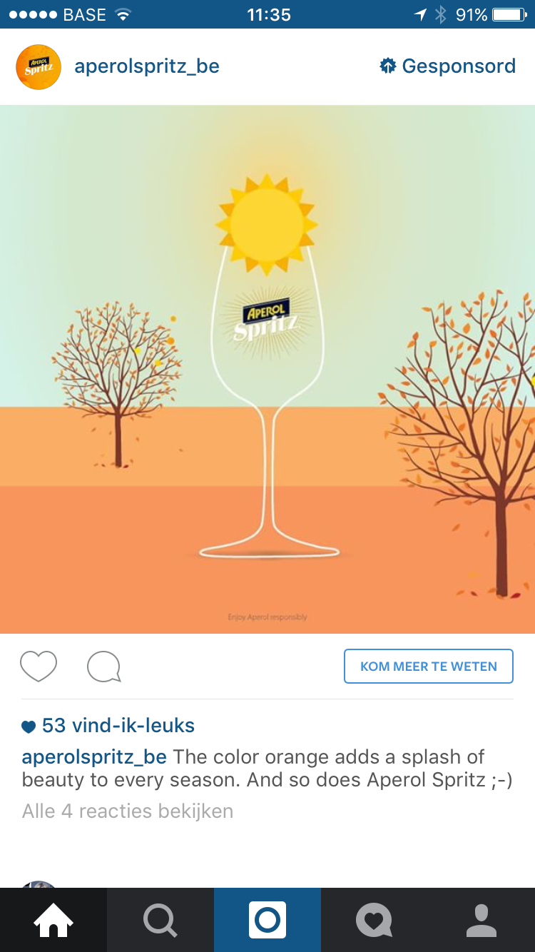 Instagram advertentie Aperol Spritz
