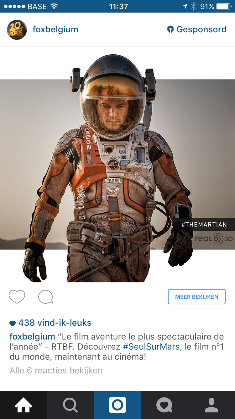 Instagram advertentie Fox Belgium
