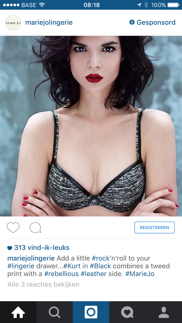 Instagram advertentie Marie Jo lingerie