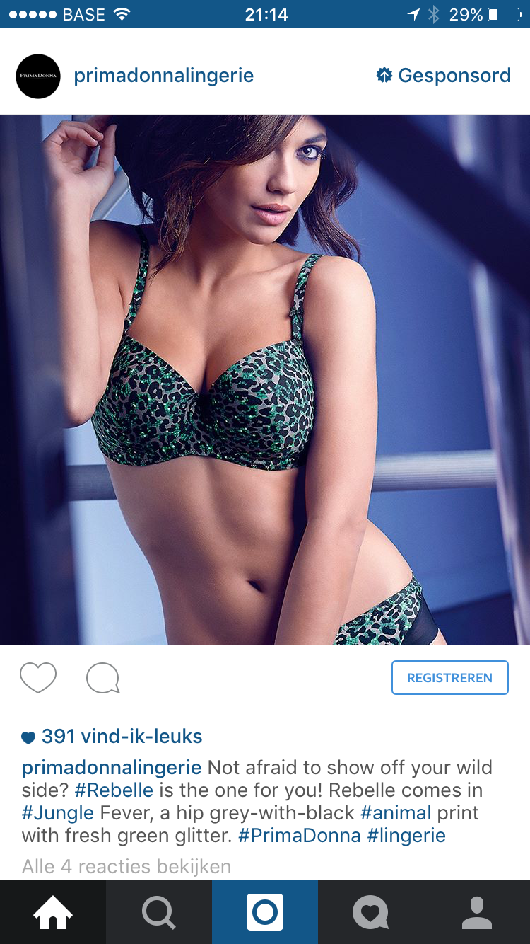 Instagram advertentie PrimaDonna lingerie