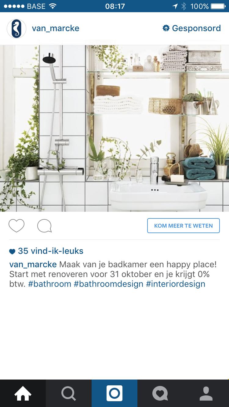 Instagram advertentie Van Marcke