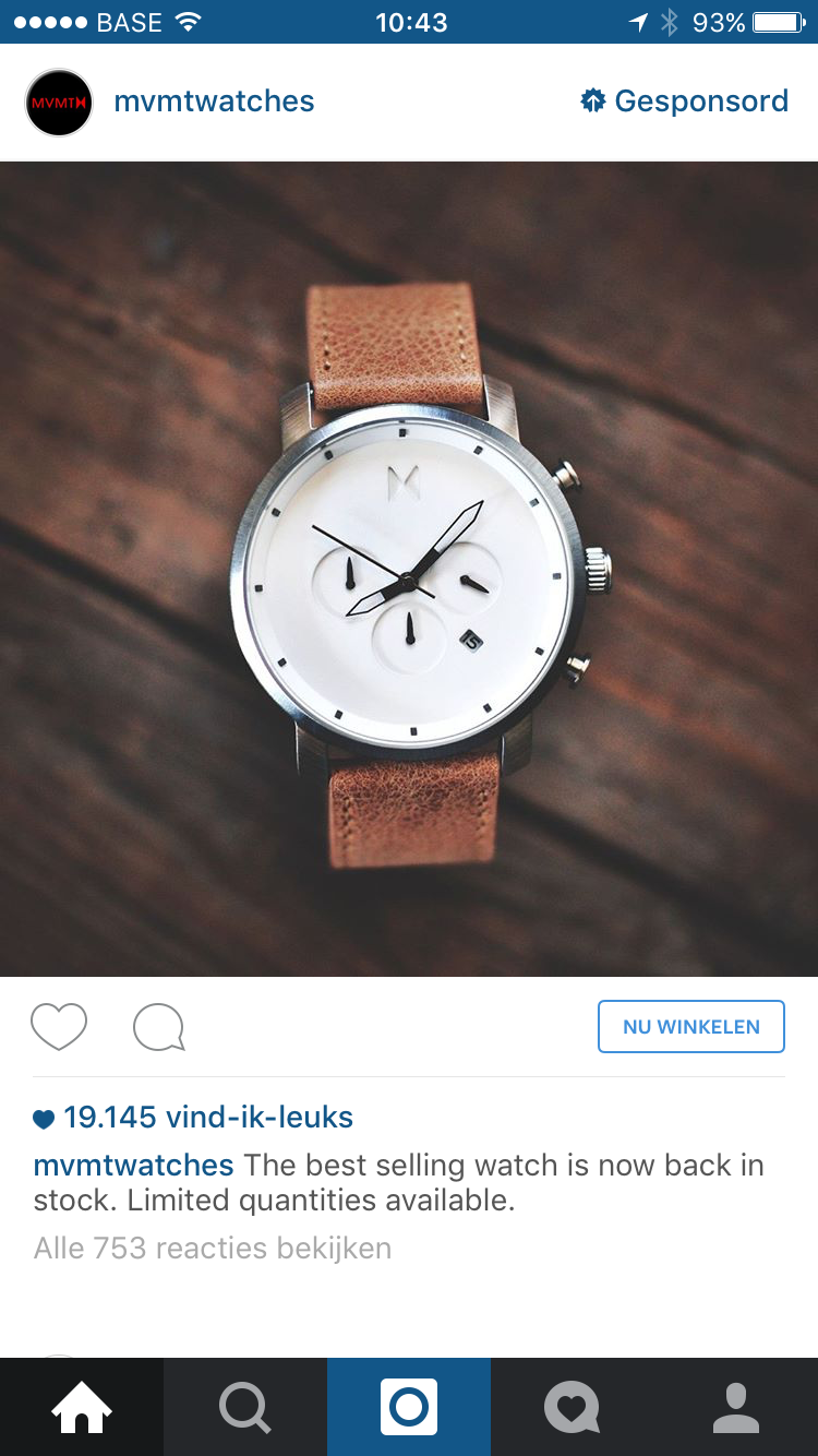 Instagram advertentie mvmtwatches