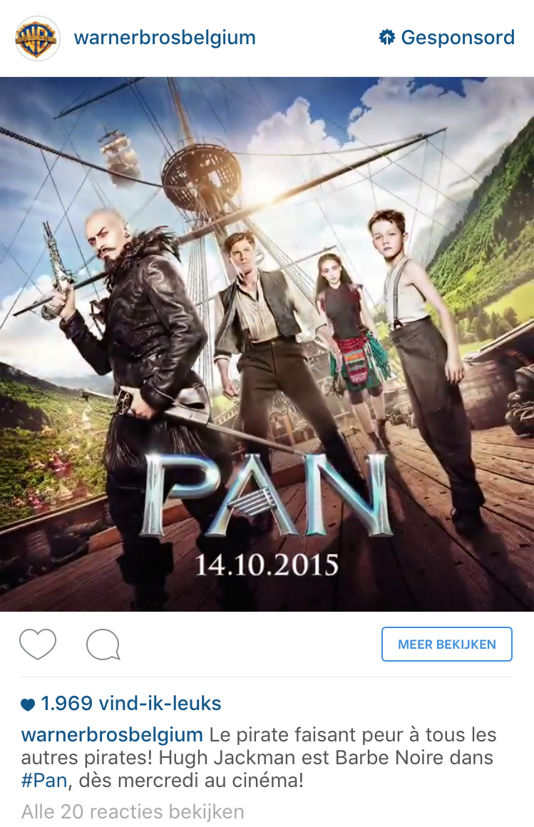 Instagram video advertentie Warner Bros Belgium Pan