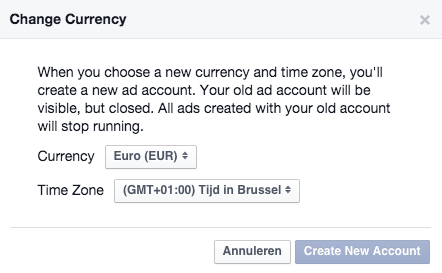 facebook advertising change currency & timezone