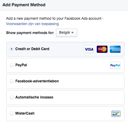facebook advertising payment methods belgium
