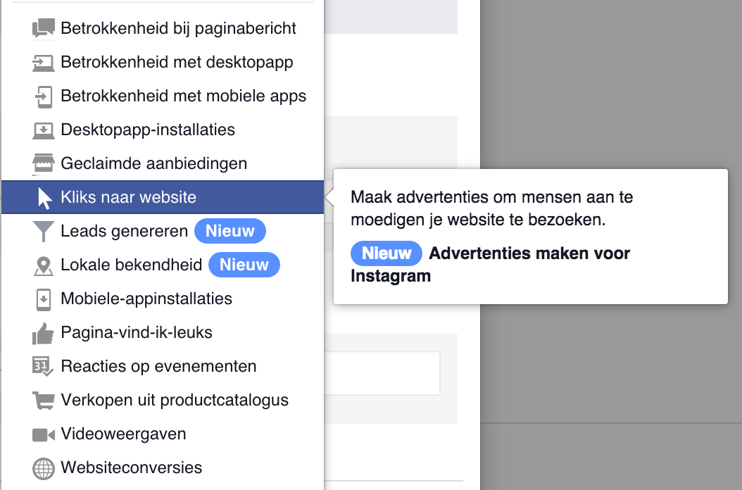 Facebook advertising doelstellingen power editor